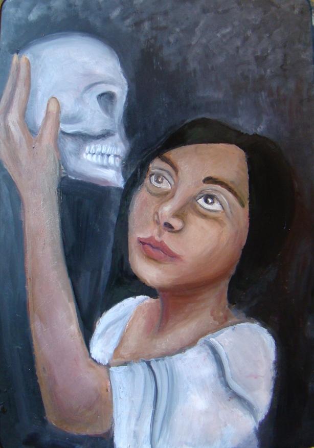 """Työn tarkoitus on näyttää tämän hetkistä minäkuvaa. Maalauksessa pidän pääkalloa, niin kuin Hamlet näytelmässä. """"Ollako vai eikö olla."""" Yhdeksäs luokka on täynnä valintoja ja muutoksia, sekä päätöksiä jotka vaikuttavat meidän tulevaan elämään. Kumminkin tämä ei ole loppu vaan vasta alku."""