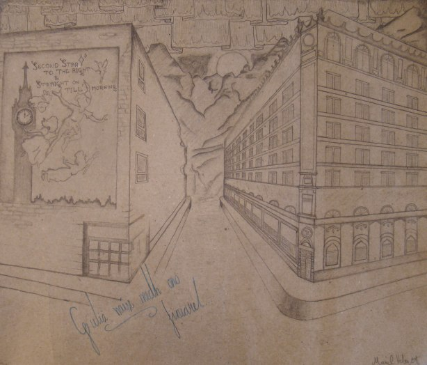 Kuvassani on kaksi taloa: osaan olla hyvin ristiriitainen ja minussa on aina kaksi puolta. Toinen talo on taiteellinen ja koristeellinen, vanhanaikainen. Se kuvaa rakkauttani menneisiin vuosikymmeniin sekä taiteellisuuttani. Se kuvaa halua olla esillä ja olla kaunis. Toinen talo on kesken, jo osittain hajonnut ja yksinkertainen. Aivan kuin osa minusta. Ei täysin valmis, mutta kuitenkin jo halkeillut. Talon seinää peittää suuri Peter Pan -juliste. Sillä on kaksi merkitystä. Toisaalta se kertoo rakkaudestani Peter Paniin ja ylipäätään tarinoihin. Rakkaudestani ajatukseen ikuisesta lapsuudesta. Toisaalta se taas näyttää tältä: teatteri- tai elokuvajuliste peittää kulunutta ja halkeilevaa taloa. Taustalla näkyvät elementit kuuluvat myös minuun ja ovat minulle tärkeitä ja rakkaita asioita: meri ja vuoret. Taivaalla loimuaa revontulia, jotka kuvaavat ikuista paloani Suomen Lappia kohtaan.