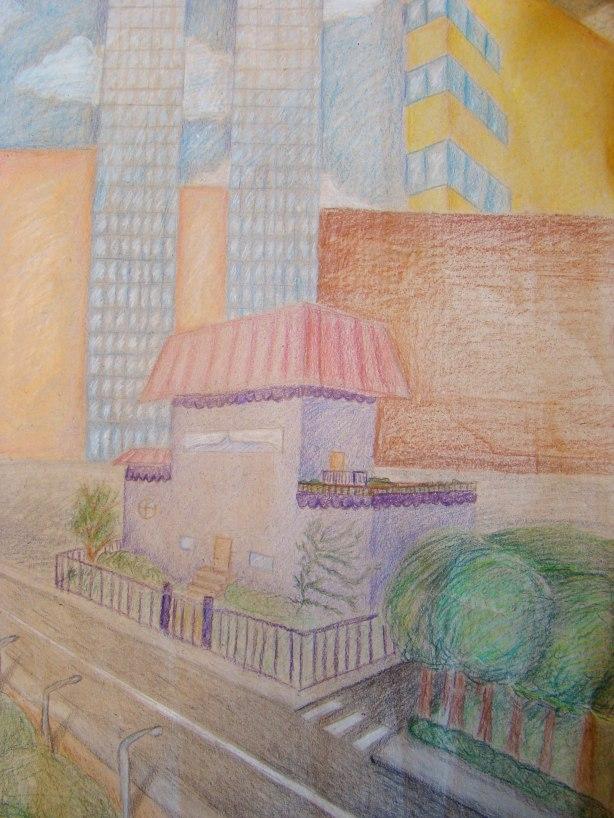 Valitsin talon väriksi violetin, koska se on lempivärini. Talo sijaitsee pilvenpiirtäjien ja korkeiden talojen lähellä, koska haluaisin asua suurkaupungissa. Talon vieressä on paljon luontoa, koska se on kaunista ja tärkeää. Piirsin omasta talostani mieluummin omakotitalon kuin kerrostalon, koska vaikka pidänkin kerrostaloista, se ei vaikuta minulta talona. Kerrostalo vaikuttaa sosiaalisemmalta, jota minä en oikein ole - olen hyvin ujo ja uusiin ihmisiin tutustuminen on vaikeaa. Aita talon ympärillä on tavallaan kynnys, jonka ylitän kun alan tutustua tuntemattomiin ja kuinka nopeasti luotan heihin, eli milloin päästän heidät aidan yli.