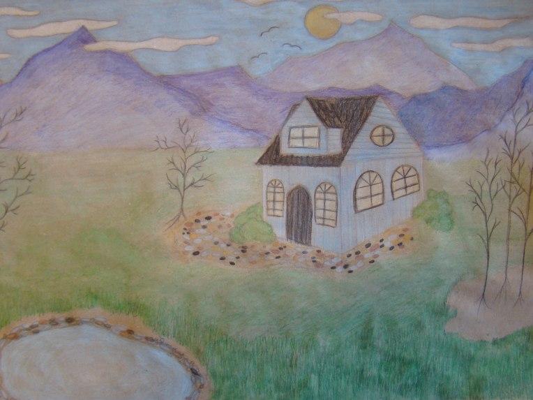 Talo on vuorten lähellä, vaikeasti tavoitettavissa ja sen luokse päästäkseen pitää kiivetä. Olen sellainen, aluksi vaikeasti tavoitettava, enkä heti päästä tuntemattomia lähelle. Kun kuitenkin näkee vaivaa ja tutstuu paremmin, saatan olla todella avoin. Piirsin talon rauhalliseen ympäristöön, sillä olen itse rauhallinen ja myös kaipaan paljon omaa aikaa ja hiljaisuutta. Sininen väri symboloi rauhallisuutta, rehellisyyttä, luovuutta ja viisautta. Koen ne ominaisuuksiksi, joita minulla on.