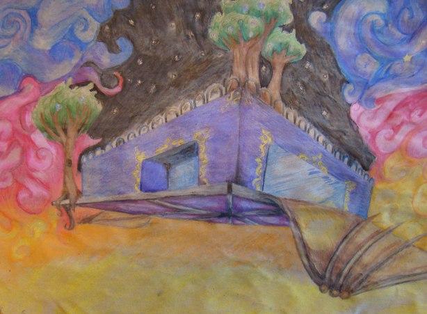 Päädyin taloon, joka lentää taivaalla - yön ja aamun välissä. Talo on violetti, jossa on paljon kultaisia kiekuroita. Talon katolla ja sivulla kasvaa puita, joissa kasvaa kristalleja. Talo lentää steampunk-tyylisillä siivillä. Talon pohja on pinkinvivahteinen. Talo lentää taivaalla, koska taivaskaan ei aseta minulle rajoja. Talon violetti kuvastaa sitä, että lempivärini ovat violetin ja sinisen sävyisiä. Puut kuvastavat joensuulaisuuttani. Talon pohja ja puiden kristallit ovat yhdestä suosikkikappaleestani. Kultaiset kiekurat ovat rakkauteni yksityiskohtia kohtaan.